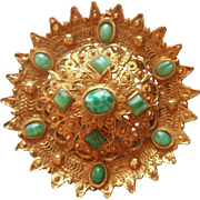 Big Vintage Pin Brooch Green Peking Art Glass Stones Imitation Cannetille