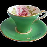 Aynsley Corset Cup Saucer Pink Cabbage Rose Green Vintage English Bone China