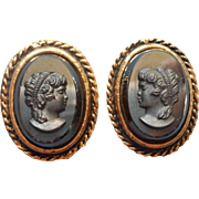 Vintage Earrings Cameo Black Glass Faux Hematite 1960s Clip