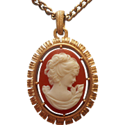 Vintage Necklace 1970s Avon Plastic Cameo Pendant On Chain