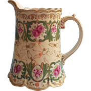 Big Nippon Water Pitcher Antique Hand Painted China Magenta Roses Green Gold