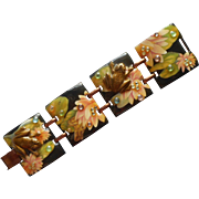 Designs From The Deep Vintage 1980s Bracelet Copper Resin Frogs Water Lilies Dew Drops