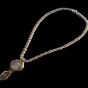 Vintage Necklace Cameo Intaglio Glass Pendant On Chain Victorian Revival