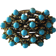 Vintage 1960s Ring Adjustable Fashion Antiqued Gold Tone Faux Turquoise