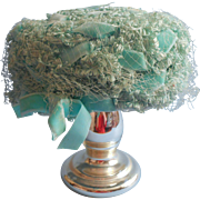 Vintage Hat Aqua Fancy Faux Straw Velvet Ribbons Pale Turquoise