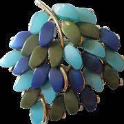 Vintage 1960s Claudette Thermoset Lucite Pin Leaf Form Blue Green Gold Tone Metal