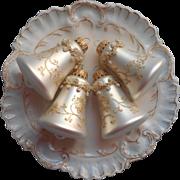 Vintage Krebs Glass Christmas Tree Ornaments Bells 4 Pearl White Glitter Braid