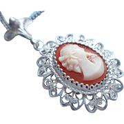 Vintage Shell Cameo Silver Filigree Pendant Necklace