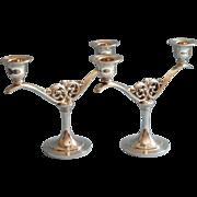 Vintage Candlesticks Pair 2 Light Oneida Silver Plated Heavy