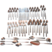 Set Vintage Stainless Steel Carlyle Cameo Flatware 73 Pieces Service 8 Plus Serving Pieces