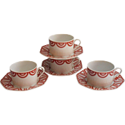 Fitz And Floyd The Ritz Red Terra Cotta Cups Saucers Vintage 4 Sets