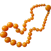 Bakelite Necklace Graduated Beads Butterscotch Vintage 1930s 18 Inch