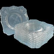 Vintage Square Dessert Plates Floral Cut Glass Set 8 Vintage
