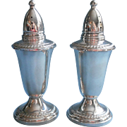 Classic Sterling Silver Shakers Vintage Glass Lined Crown Pair Salt Pepper