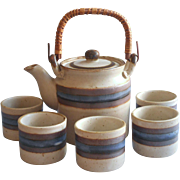 Otagiri Horizon Tea Set Teapot Rattan Handle 5 Handleless Cups Vintage Stoneware