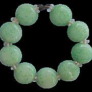 1920s Glass Beads Bracelet Vintage Coin Shaped Peking Art Glass