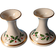 Vintage Lenox USA Holly Candlesticks Pair Christmas Original Labels China