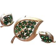 Vintage Set Pin Brooch Earrings Leaf Shape Green Rhinestones