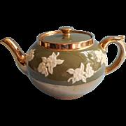 Sadler Teapot Brown Betty Vintage Moss Green White Molded Flowers