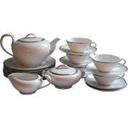 Simple Platimum White Noritake China Tea Set Dessert Service Vintage