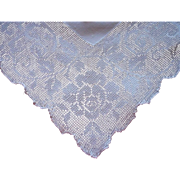 1920s Tablecloth Vintage Fine Linen Roses Square Mosaic Work
