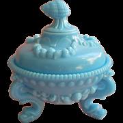 Argonaut Blue Westmoreland Candy Dish Lid Milk Glass Vintage Seashells