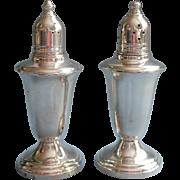 Simple Sterling Silver Shakers Vintage Glass Lined Crown Pair Salt Pepper