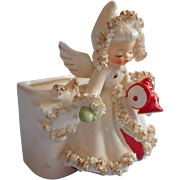 Holt Howard 1950s Christmas Angel Vase Vintage Spaghetti Trim Label Girl