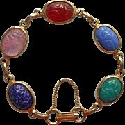 Vintage Scarab Bracelet Glass Stones Mid Century