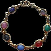 Vintage Scarab Bracelet Glass Stones Petite Links