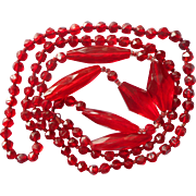 Antique Red Glass Beads Necklace 1910s to early 1920s