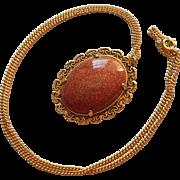 Vintage Necklace Goldstone Pendant Victorian Revival