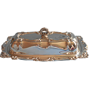 Butter Dish Vintage Silver Plated Glass Liner ca 1970