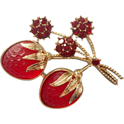 Vintage Strawberries Pin Red Satin Glass Figural Strawberry Festival  Sarah Coventry