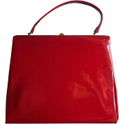 Vintage ca 1960 Ruby Red Patent Leather Purse Big Theodor California Handbag