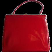 Vintage ca 1960 Ruby Red Patent Leather Purse Big Theodor California Handbag