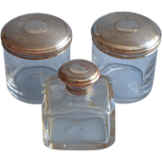 Antique Vanity Jars Perfume Bottle Crystal Set Silver On Copper Lids