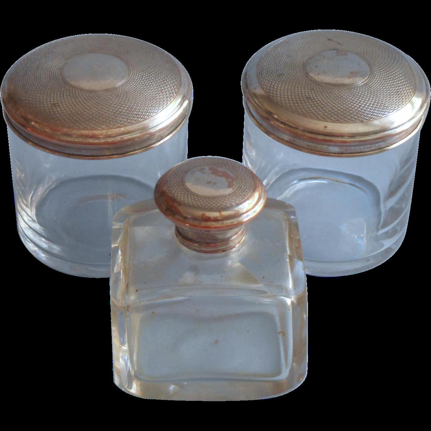 Antique Vanity Jars Perfume Bottle Crystal Set Silver On Copper Lids