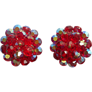 Vintage 1960s Earrings Red AB Cut Crystal Bead Clusters Beads