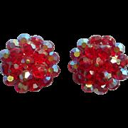 Vintage 1960s Earrings Red AB Cut Crystal Bead Clusters Beads