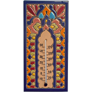 Vintage Coimbra Portuguese Pottery Thermometer Plaque Hand Painted