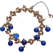 Vintage 1930s Art Deco Bracelet Rhinestone Blue Glass Dangles TLC