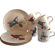 Vintage Song Birds National Widlife Federation Plates Mugs Songbirds Set