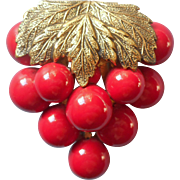 Vintage 1930s Dress Clip Red Cherry Grape Cluster Leaf Cherries