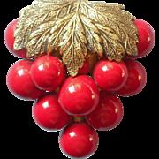 Vintage 1930s Dress Clip Red Cherry Grape Cluster Leaf Cherries