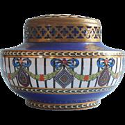 1923 James Kent Luxor Pattern Fenton Vintage Hand Painted China Vase Metal Flower Arranger Top