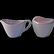 Vintage Melmac Purple Royalon Lavender Creamer Sugar Bowl Lid Mid Century
