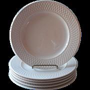 Oneida Basketweave 6 Dinner Plates Majesticware Stoneware