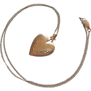 Vintage Sterling Silver Heart Locket On Chain Necklace