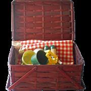 Vintage Picnic Basket Rattan Wood Strip With Contents